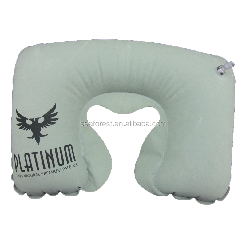 Custom Printed PVC Flocking Air-filled Inflatable Neck Pillow For Travel on Car