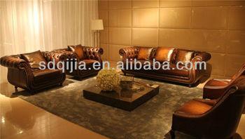 American Style Wohnzimmer Möbel Klassischen Luxus Chesterfield Braunem  Leder Sofa Setzt