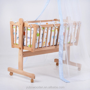 Baby Crib Bed Infant Toddler Lockable Cradle Rocking Child Nursery Furniture Yellow Dealer Swing Cot Wooden Hospital