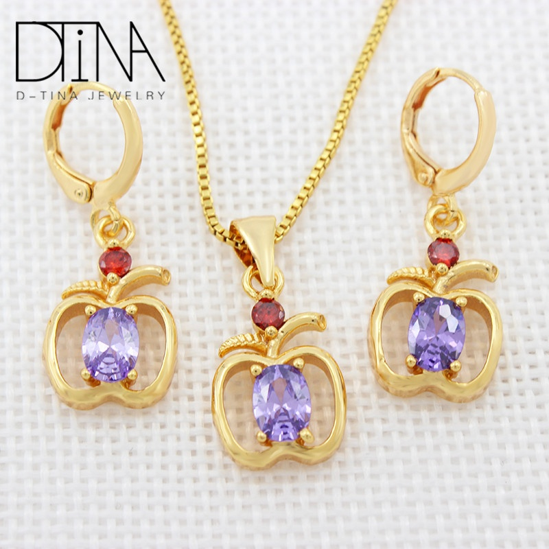 DTINA 두바이 18 k 금 Plated 보석 Necklace 및 귀걸이 Set 싼 Bridal Wedding Jewelry Design