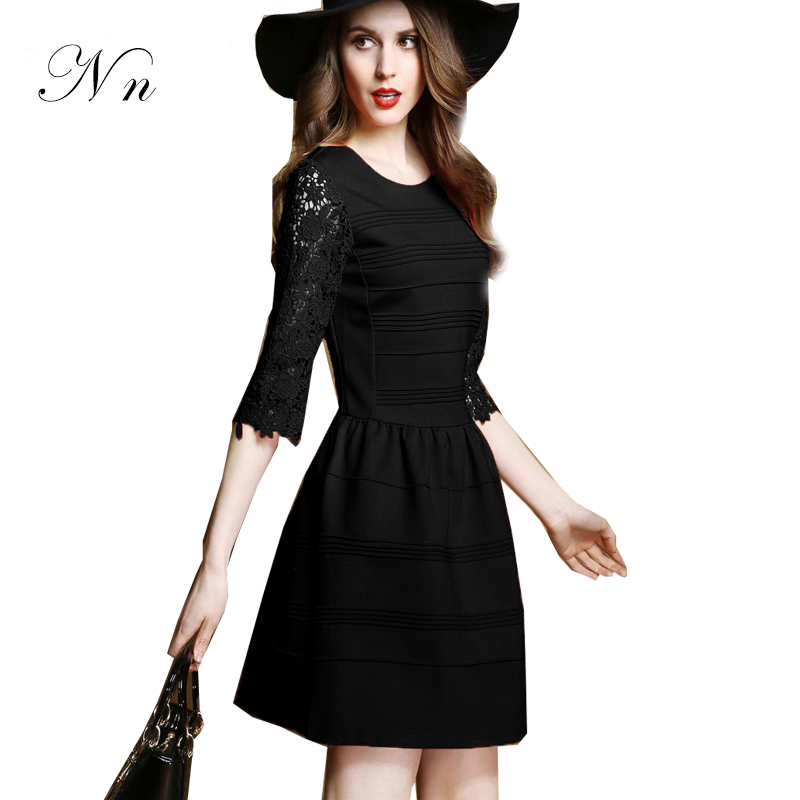 2015 Autumn Women Dress Summer Patchwork Sleeve Casual Slim Workwear Sexy Black Red Lace Dresses Gowns Vestidos Plus Size WD11