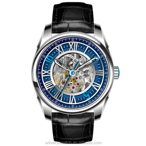 316L stainless steel and genuine leather skeleton mechanical custom logo mens automatic watch U2671-04