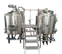 beer mash/lauter tun, stainless steel brew kettle, brewhouse system