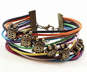 Rainbow Cotton Paraffined Rope Ladybug Adjustable Bracelet Wristband Comes with Wooden Textured Charms for Good Luck & Repel Evil
