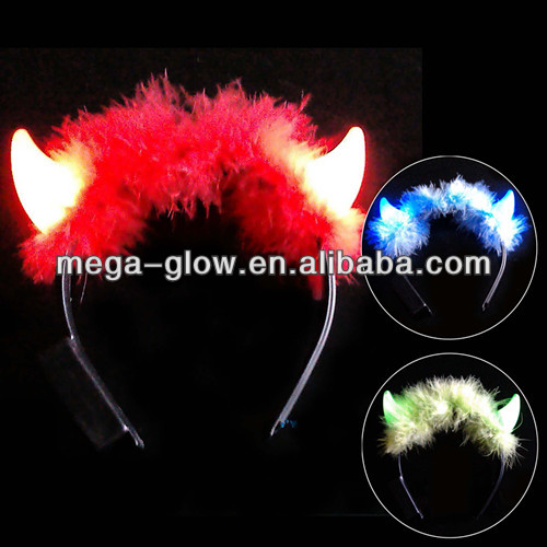 led flashing red devil horn headband for party