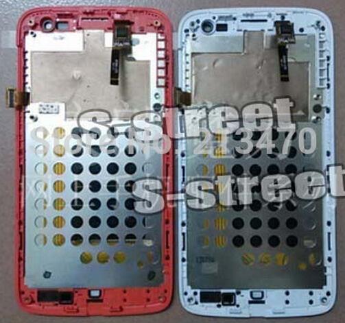 С рамой белый / красный для Lenovo S820 жк-дисплей + дигитайзер сенсорный экран стекло монтажный комплект + код отслеживания
