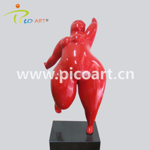 Modern woman body happy fat lady art sculpture