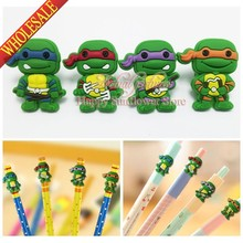 4PCS Teenage Mutant Ninja Turtles Action Figures PVC Pencil Topper Pen refill School Supplies Kids Birthday Party Gifts