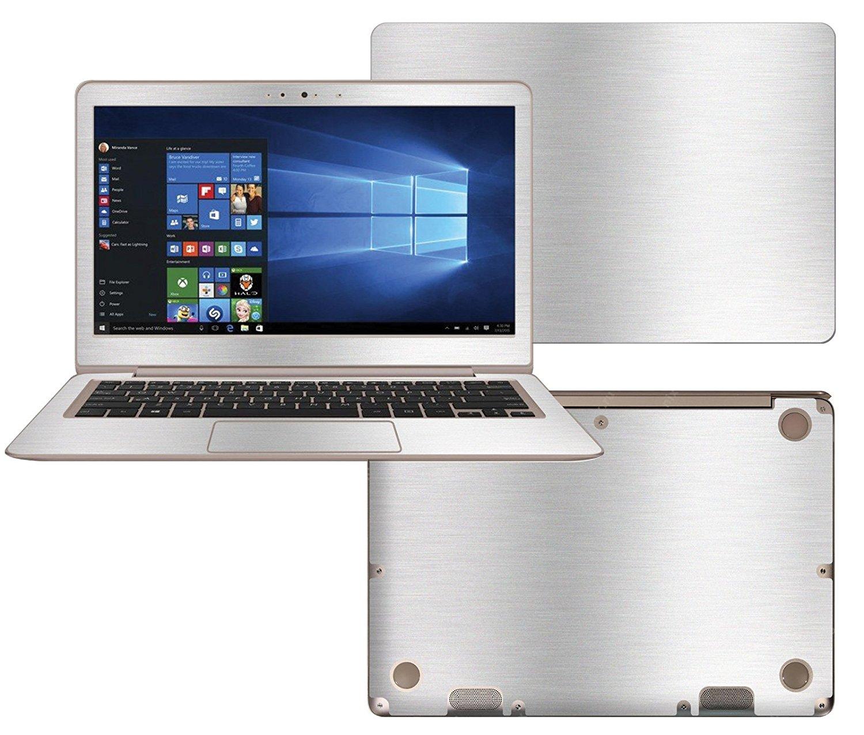 "Decalrus - Protective decal for ASUS ZenBook UX330UA (13.3"" Screen) Laptop SILVER Texture Brushed Aluminum skin decal wrap BAasuszenbookUX330UASilver"