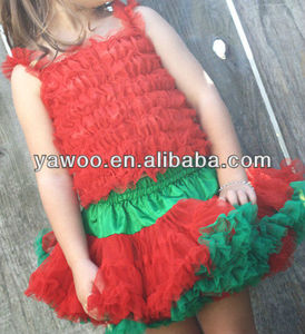 Wholesale Pettiskirt Baby Halloween Girl Christmas Fluffy Ruffle Tutu Red And Green Pettiskirt Party Dance Skirt Pettiskirts