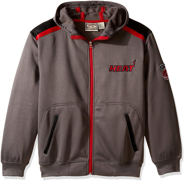 NBA Miami heat Unisex Poly fleece Zip hoody, CHARCOAL/black, Large