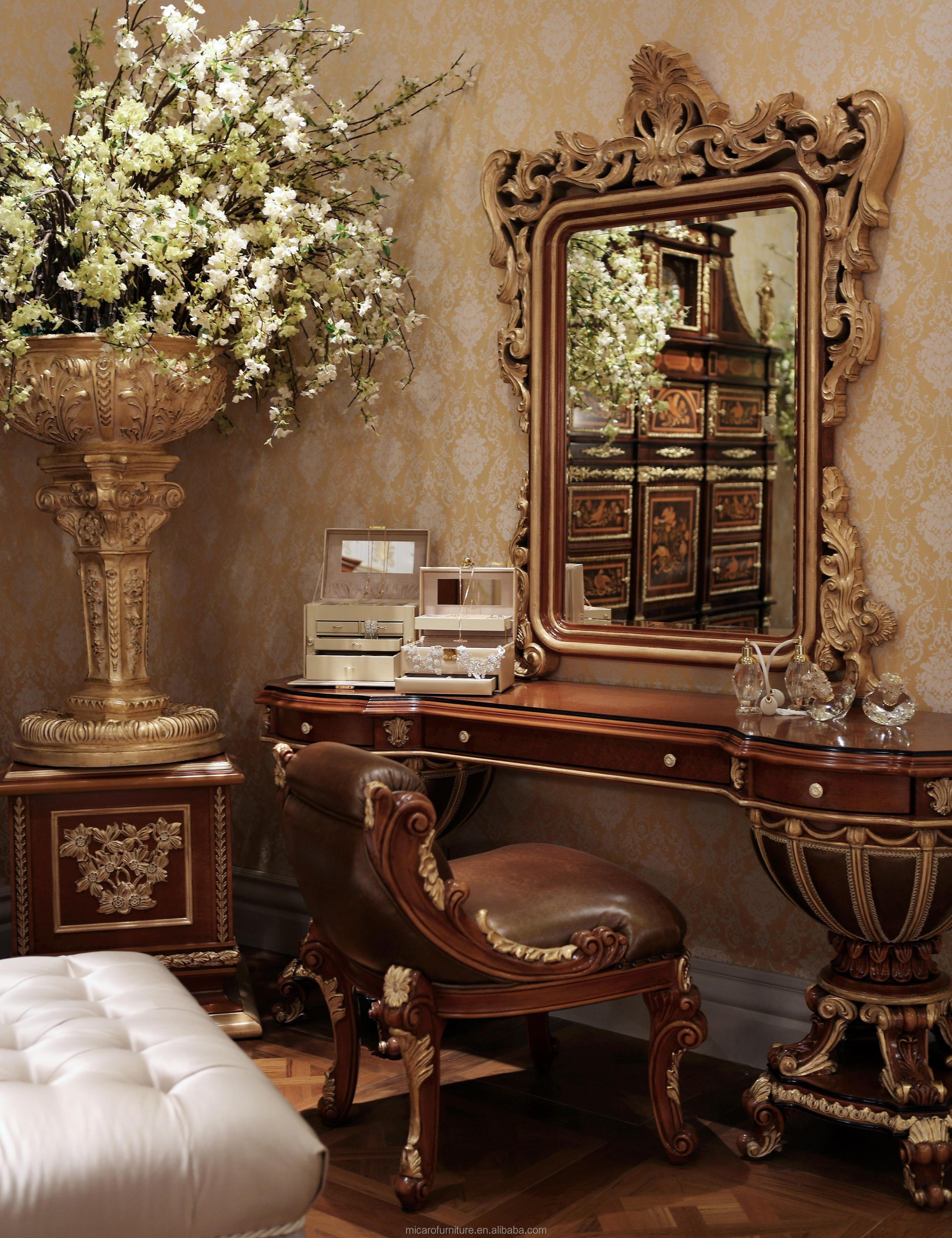 Italian Style Classic Cherry Color Solid Wood King Size Luxury Bedroom  Furniture For Villa