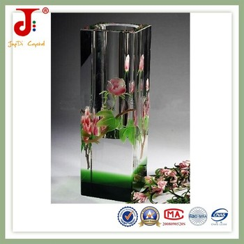 Hot Sale K9 Crystal High Quality Glass Flower Vase Painting Designs