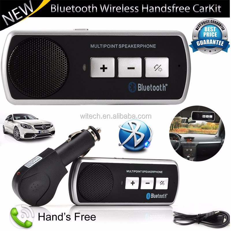 Free sample New Slim Magnetic Wireless Bluetooth Handsfree Car Kit Speaker Phone Visor Clip