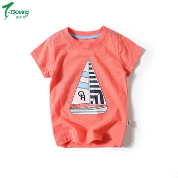 8a1eb32c91578 Kids Child Summer Casual Clothes Baby Boys Short Sleeve Blouse Tee Shirt  Tops Sailboat pattern T