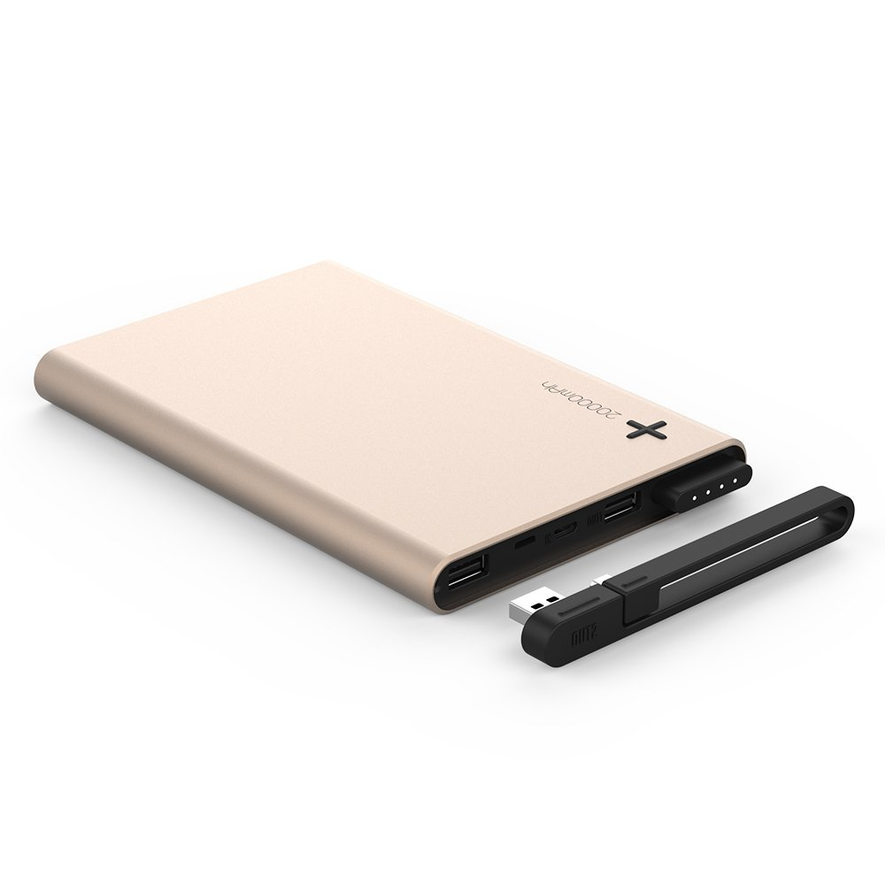 Power Bank, Emie Power Station 20000mAh Dual USB Port Power Bank Compact External Battery Portable USB Charger for iPhone, iPad, Samsung Galaxy, Cell Phones and Tablets (Rose Gold)