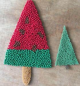 Custom ABS beads rhinestone iron on christmas tree father heat transfer motif patches for children's wear