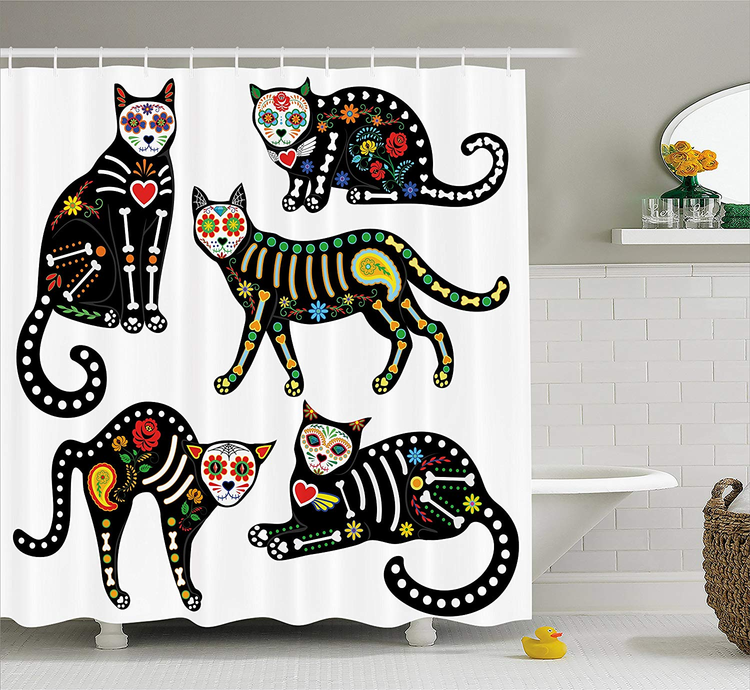 Get Quotations Ambesonne Sugar Skull Decor Shower Curtain Calavera Ornate Black Cats In Mexican Style Holiday The