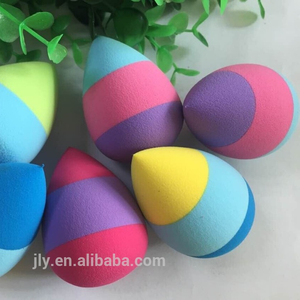 JLY-07 nice finish powder puff rainbow cosmetic sponge