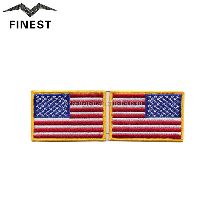 Eco-friendly Iron-on embroidery US american flag patch