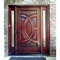 Mahogany Front door double door solid wood entry door with glass and 2 sidelights