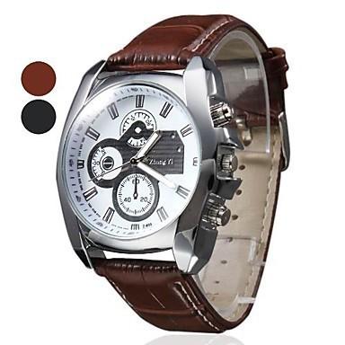 Три глаза часы кварцевый часы мужчины спорт кожа ремешок часы свободного покроя часов наручные часы коричневый