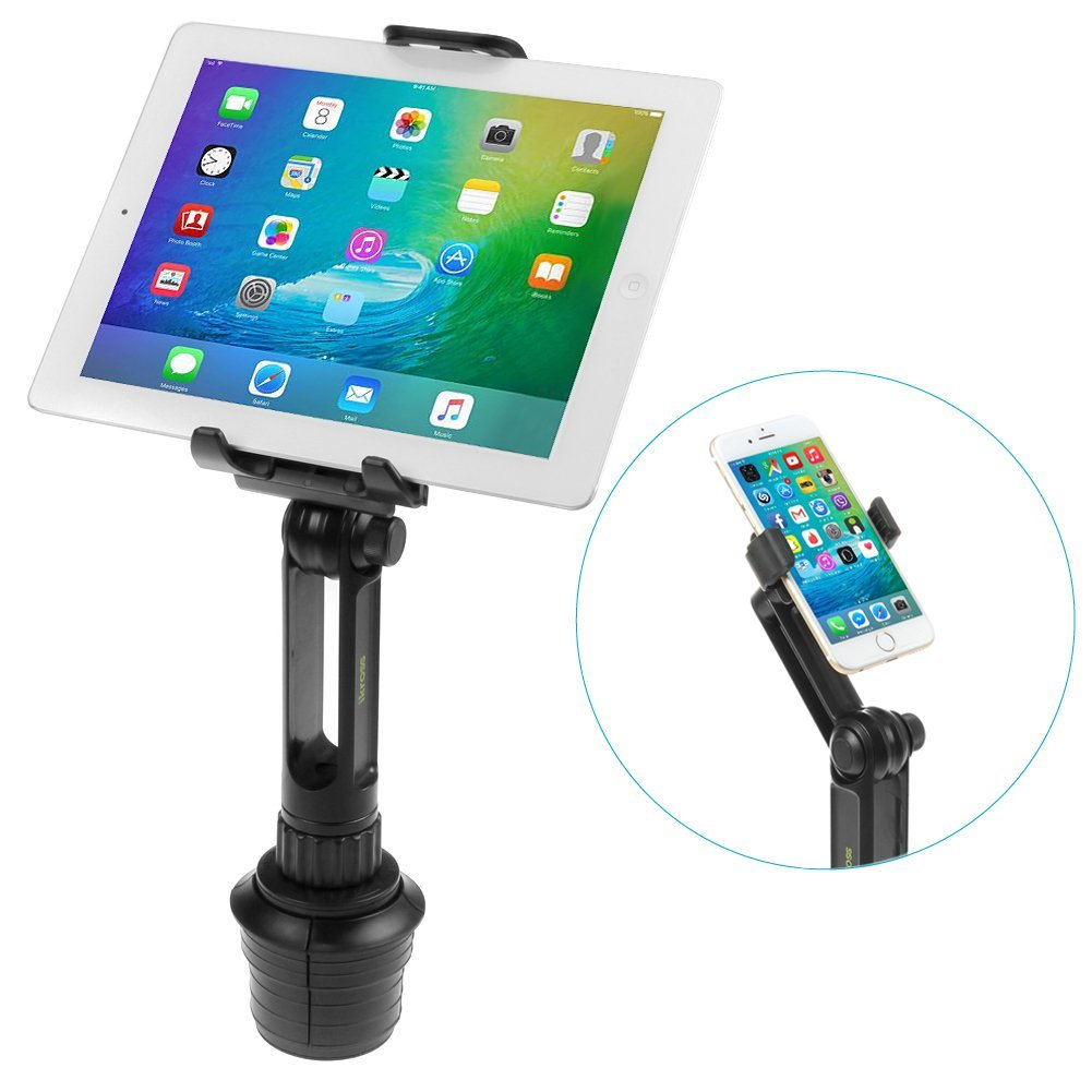 iKross 2-in-1 Tablet & Cellphone Adjustable Swing Long Arm Cup Mount Holder Car Kit for BLU Win JR, Win HD, Advance 4.0, Studio Series, Vivo Series, Life Series and More