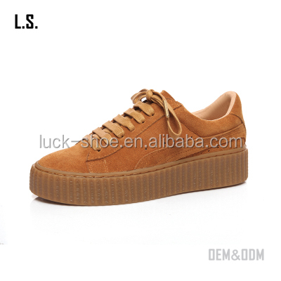 Fashionable casual shoes lace up genuine leather sneaker shoes unisex thick sole sneakers