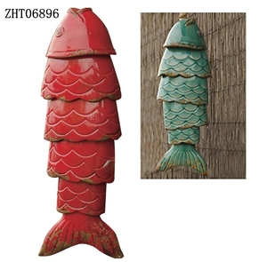 Hot Selling Ceramic Fish Wind Chime Porcelain Fish Garden Decoration