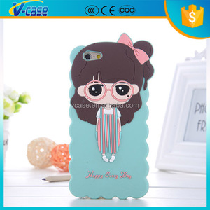 VCASE custom PC TPU cell phone cover case for iphone 5C , 3D silicone cute cartoon case for iphone 5s