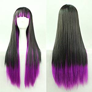 SMILE Wig Heat Resistant 70 Cm Harajuku Anime Cosplay Young Long Straight Women Cute Sexy Front Long Straight Synthetic