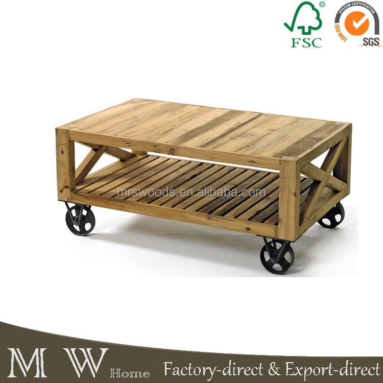 Beautiful Industrial Living Room Coffee Table, Recycyeld Fir Wood Rectangular Bar  Style Coff Table With Iron
