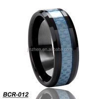 Latest Inlay couple Designs with Blue Carbon Fiber ceramic Finger Ring
