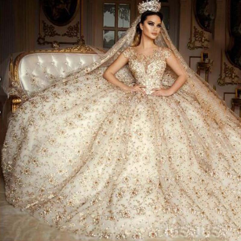 Wedding Gowns With Sleeves.Wedding Dress 2019 Style Vestidos De Novia Trouwjurk Scoop Neck Beading Ball Gown Wedding Dress Robe De Mariage Wedding Dresses