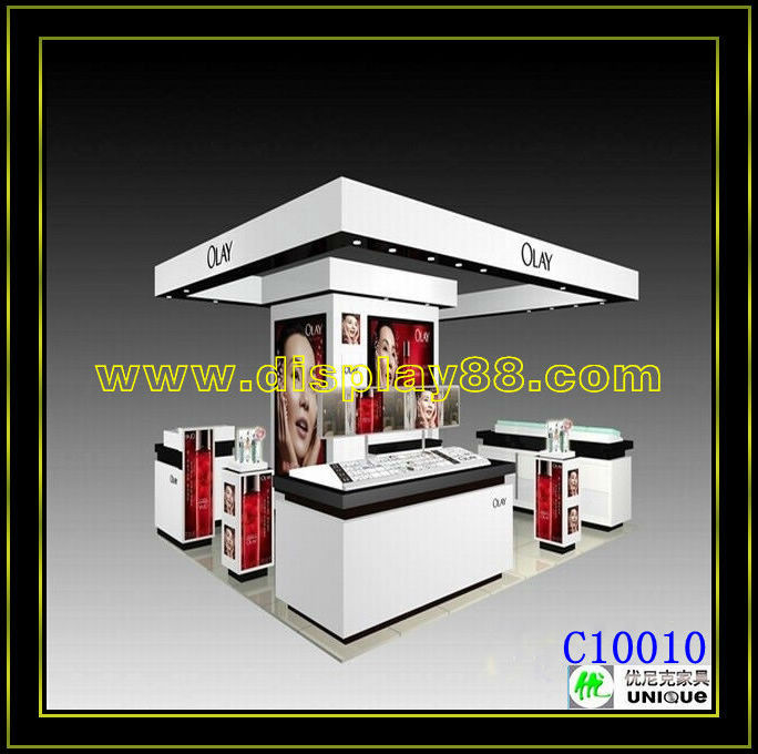 Olay cosmetic display kiosk cosmetic showcase design glass cosmetic showcase