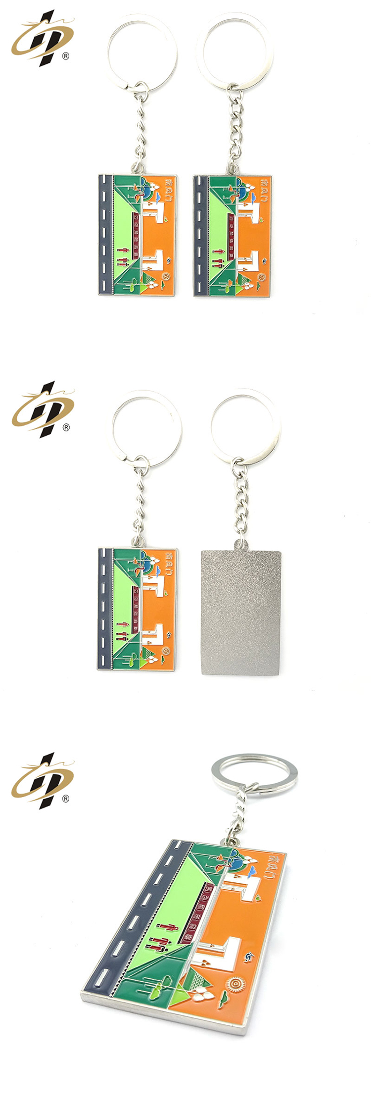 Wholesale custom your own enamel logo souvenir metal keychains