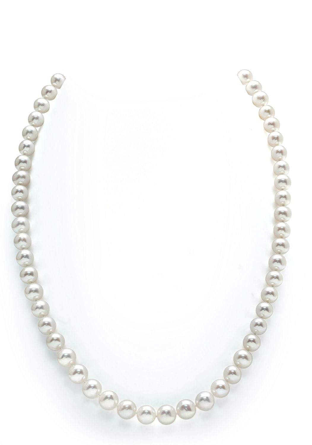 """THE PEARL SOURCE 14K Gold 6.0-6.5mm AAAA Quality White Freshwater Cultured Pearl Necklace for Women in 36"""" Opera Length"""