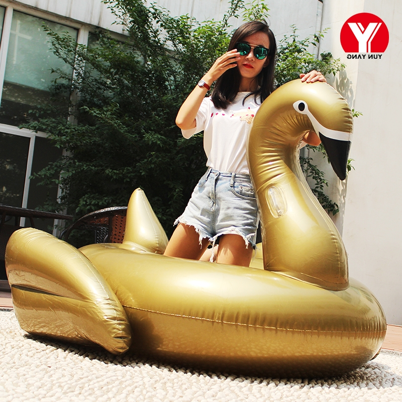 2018 Giant unicorn swim floating rider giant inflatable black/gold swan pool float