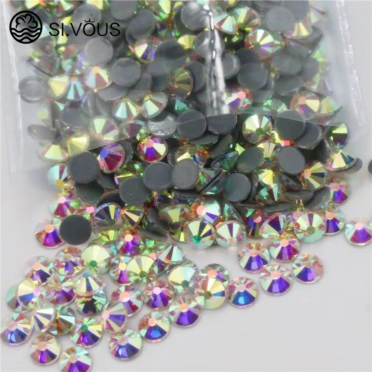 SI.VOUS Flat back top mix self adhesive black neon 2088 rhinestone hotfix dmc rhinestone crystal glass beads stone for dresses