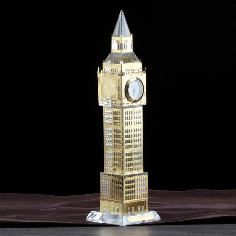 Metal covered surface Crystal Big Ben model with clock for souvenir