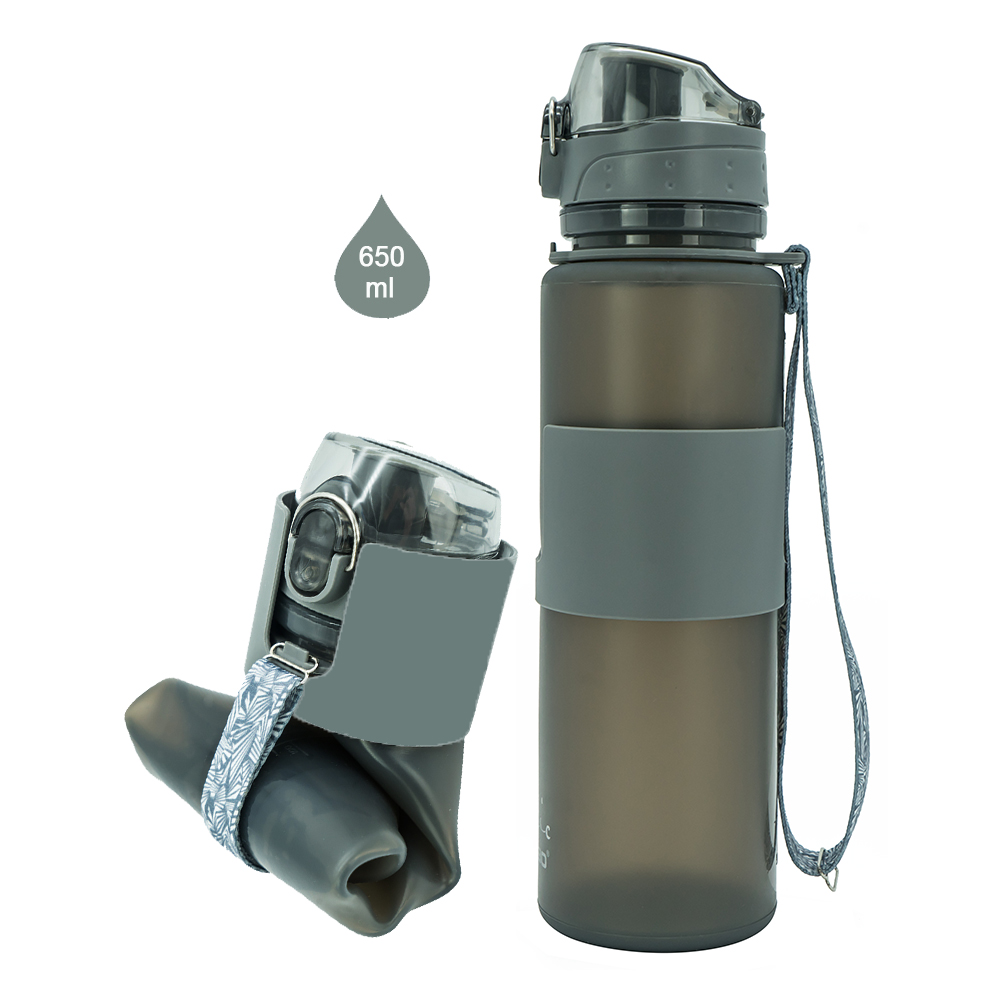 650 ml 22 oz BPA free outdoors brands <strong>sports</strong> foldable water bottle with one touch cap