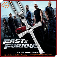 2016 Movie The Fast and Furious Men Necklace Dominic Toretto Vin Classic Male Rhinestone CROSS Pendant dropshipping jewelry