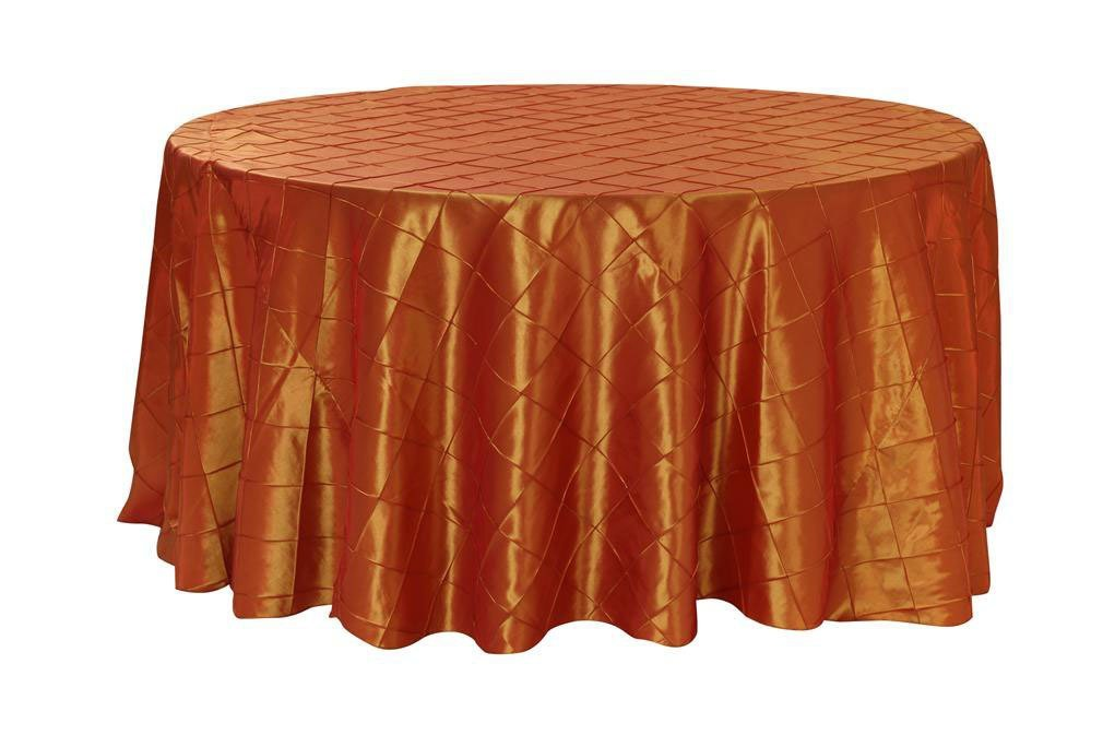 Your Chair Covers - 120 inch Round Pintuck Taffeta Tablecloths Burnt Orange, Round Table Linens for 5 ft Round Tables