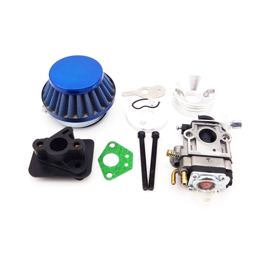 TC-Motor 15mm Carb Carburetor + Blue 44mm Air Filter + Alloy Stack +  Mainfold