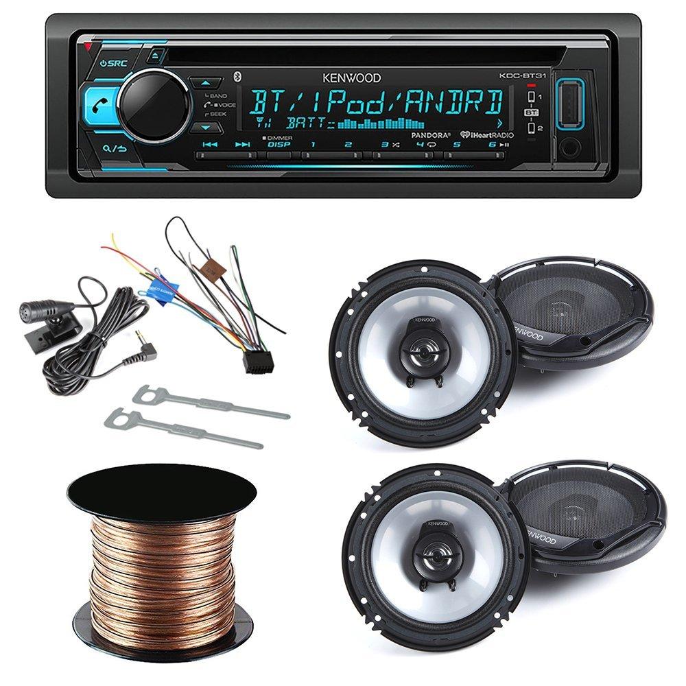 "Kenwood KDC-BT31 Single DIN Bluetooth In-Dash CD/AM/FM Car Stereo Receiver + (2x)Kenwood KFC-1665S 60W 6.5"" 2-Way Sport Series Flush Mount Coaxial Speakers w/ Tweeters + SW1850 - speaker cable 50ft"