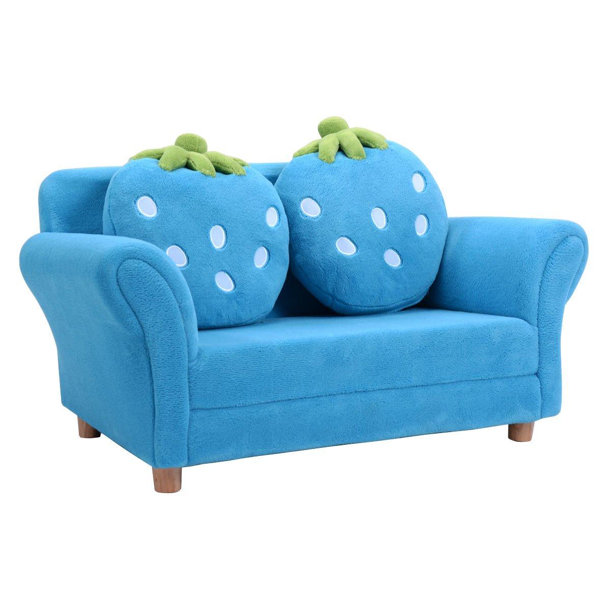 Costzon Kids Sofa Set Children Armrest Chair Lounge Couch w/2 Cushions (Blue)