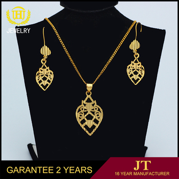 Womens dubai gold jewelry set 18k gold plated jewelry sets for Gift