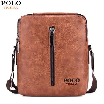 dcef9d1e88 VICUNA POLO Vintage Casual High Quality Leather Men s Messenger Bag Brand  Mens Tote Bag Leisure Men