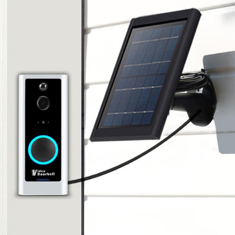 Zonnepaneel Batterij Aangedreven Bewegingsdetectie Ring Deurbel Ip Camera Wifi Draadloze Video Deurtelefoon