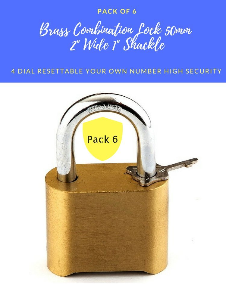 """Pack of 6 Weatherproof Brass combination lock 50mm, Security 4 dial Re-settable padlocks 2"""" Wide commercial Grade, 1"""" Short Shackle (6)"""